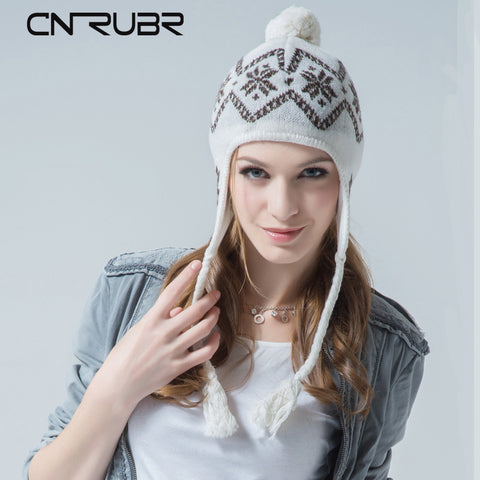 CN-RUBR Winter Snow Knitted Hat Soft Warm Wool Cap Hat Casual Beanies  Women Fashion Knitted Winter Hat Skullie Earmuffs Hat