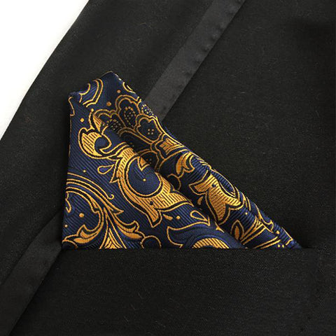 Mantieqingway Brand Gold Blue Paisley Handkerchief for Men Polyester Dots Paisley Men Fashion Pocket Squares Tie Handkechiefs