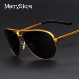 MERRYSTORE Men Brand Aluminum Alloy Polarized Shield Sunglasses Ultralight Gold Frame Polar Glasses Polarized Sunglasses