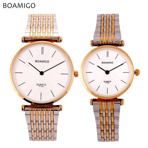 BOAMIGO lovers watches men women dress quartz watches steel band gold silver simple business clock hours watch relogio feminino