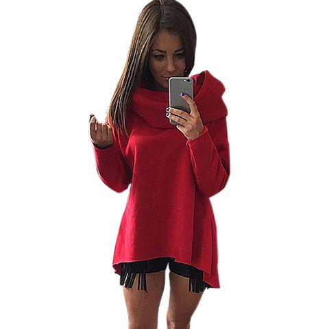 Hoodies Sweatshirt Women Scarf Collar Long Sleeve Casual Autumn Sweatshirts High Neck Solid Irregular Pullover S-XL