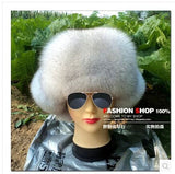 Free shipping The new winter 2014 ms fox hat Earmuffs lei feng's cap snow blue fox genuine leather fur hats