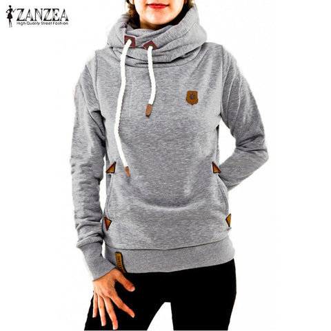 ZANZEA Women Hoodies 2016 Winter Thick Warm Sweatshirt Long Sleeve Hooded Casual Anchor Tracksuit Sudaderas Mujer Plus Size 5XL