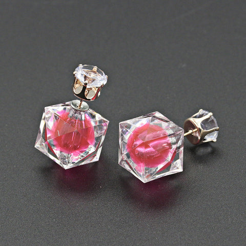 Fashion Cute Crystal Rhinestone Candy Wrapping Acrylic Bubble Earrings Fine Jewelry Wholesale