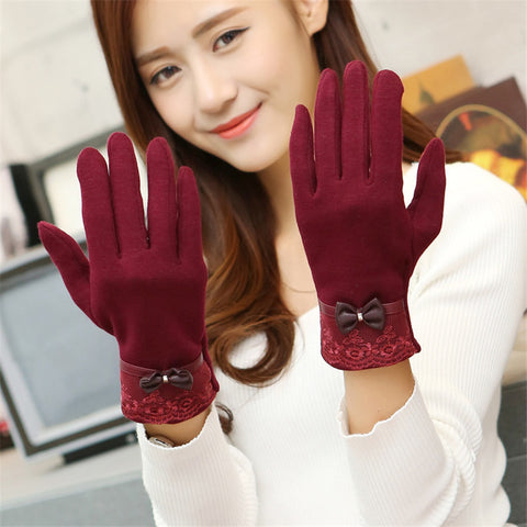 Winter Warm Solid Color Fashion Lace  Touch Screen Gloves for Christmas Gift New Arrival Bow-knot  Design Women Gloves