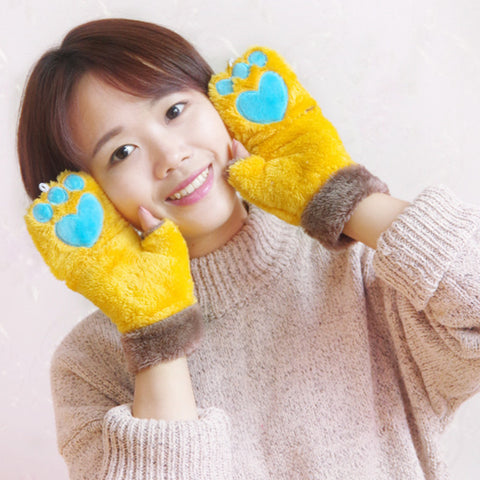 Winter Clamshell Half Finger Plush Gloves