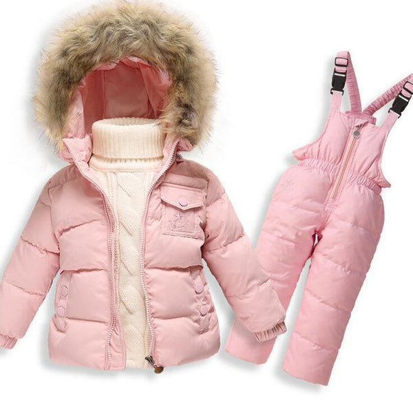 2PCS Winter Warm Duck Down Coat Jacket Soft Flower Hooded Baby Boy Girl Clothing Set Long Sleeve Kids Snowsuit Outerwear Parkas