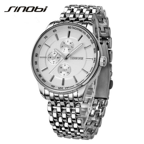 Sinobi Dress Quartz Watches Men Business Sports Military Steel Band Casual Wristwatch Waterproof Relojes hombre 2017 New