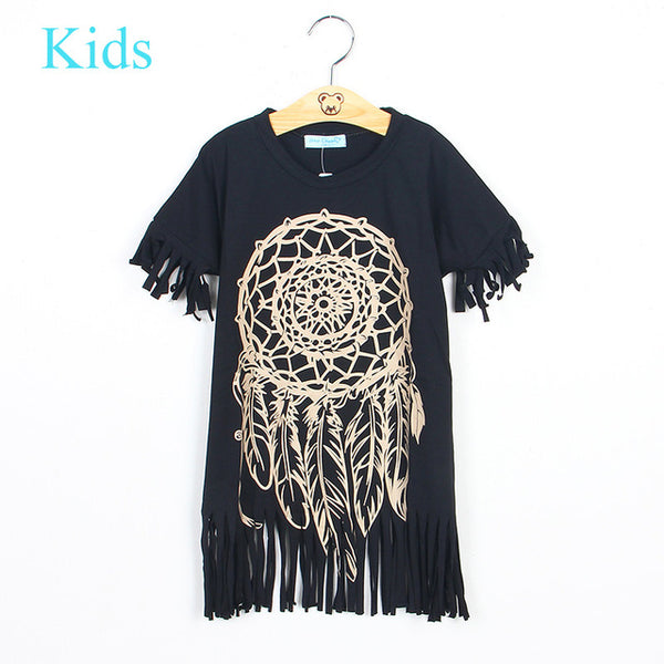 Girls Dress 2016 new spring summer style children's clothing personality style casual baby black wild fringed dress 1-5Y
