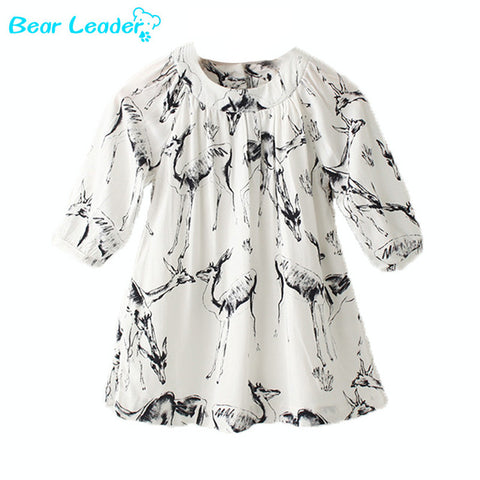 Bear Leader 2016 European designer fashion brand baby girls dress with deer print cute clothing for baby girls for spring