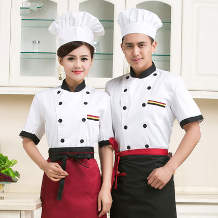 high quality 2016 new Short-sleeved Chef service Hotel working wear Restaurant work clothes white Tooling uniform cook Tops