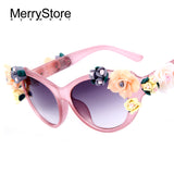 DIY Flower Sunglasses brand designer oval rose floral sun glasses spectacles shades GIRL Summer Beach