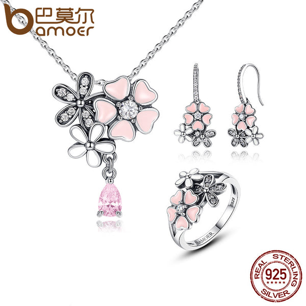 BAMOER 100% 925 Sterling Silver Pink Flower Poetic Daisy Cherry Blossom Jewelry Sets Wedding Engagement Jewelry ZHS028