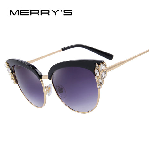 MERRY'S Women Fashion Flower Crystal Decoration Half Frame Butterfly Sunglasses S'8272
