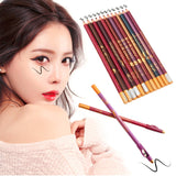 2016 Dual Use 12pcs/Set Fashionable Eye Liner Makeup Tools Accessories Long Lasting Lip Eyeliner Pencil Perfect Gifts For Women