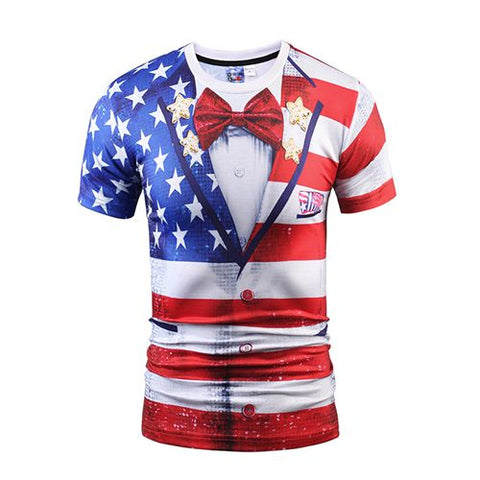 Mr.1991INC New Men/Women t shirt Short Sleeve Summer Newfangled False 2 pieces American Flag Bow tie Printing  Hot Tops Tees