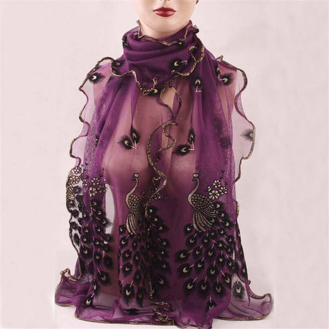 Women Peacock Flower Embroidered Lace Scarf Long Soft Wrap Shawl Stole Pashmina For Stylish Women/Girls Free shipping