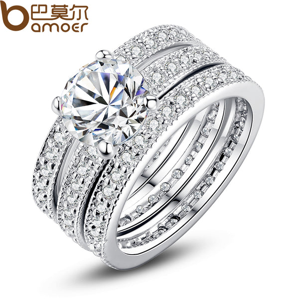 BAMOER Luxury Brand Fashion Silver Color Bridal Set Ring for Women with Paved Micro Zircon Crystal Wedding Jewelry YIR031