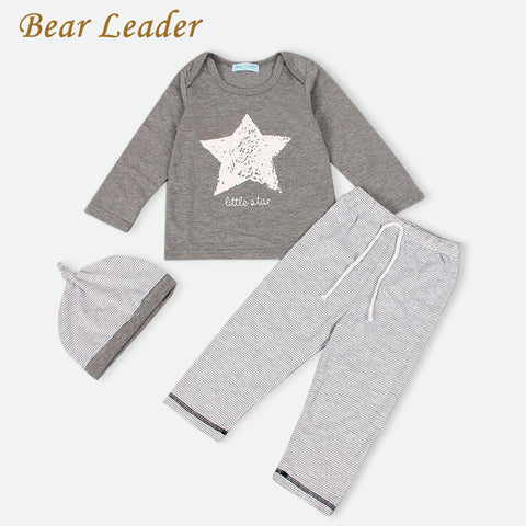 Bear Leader 2016 Winter&Autumn baby boy girl clothes casual 3pcs (Hat + T-shirt+pants) The stars leisure baby boys clothing sets