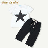 Bear Leader Baby Clothing Sets 2016 Summer Style Baby Girls Boys Clothes Black Letter T-shirt+Imitation cowboy pants 2pcs suit
