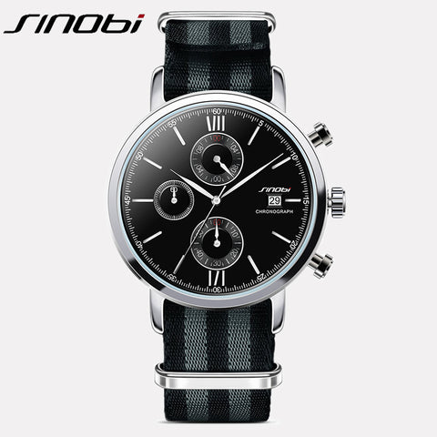 SINOBI Classic Top brand Quartz Watch Men's Fashion Sports Chronograph man Wrist Watches Male Business Clock Nylon strap