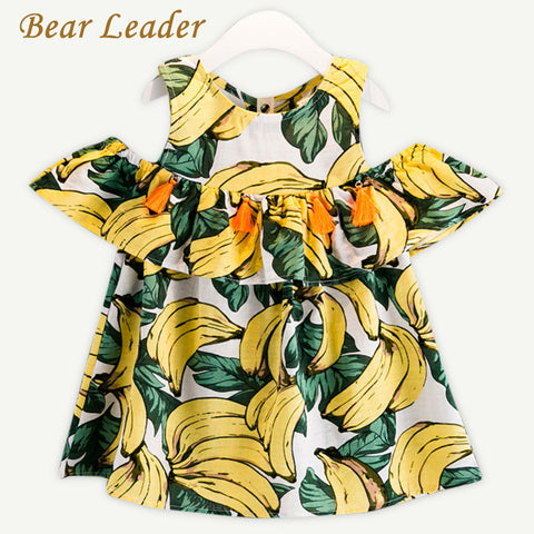 Bear Leader Girls Dress 2017 Summer Style Children Clothing Kids Dress Banana Pattern Printing for Baby Girls Dress Girl Clothes