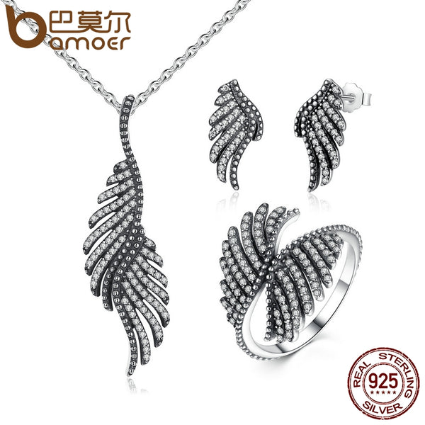 BAMOER 100% 925 Sterling Silver Jewelry Set Phoenix Feather Silver & Clear CZ Jewelry Sets Wedding Engagement Jewelry ZHS005