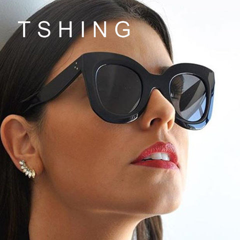 TSHING 2017 New Fashion Cat Eye Sunglasses Women Vintage Brand Designer Rivet Shades Sun Glasses For Female Big Frame Eyewear