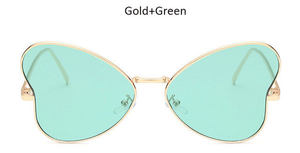 TSHING 2016 Fashion Ladies Butterfly Sunglasses Unique Heart Shaped Flat Panel Sun Glasses Rose Gold Sunglasses For Women UV400