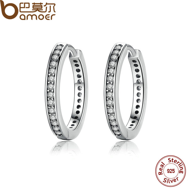 BAMOER 925 Sterling Silver Cubic Zirconia Simple Female Hoop Earrings Jewelry for Women Sterling Silver Jewelry PAS456