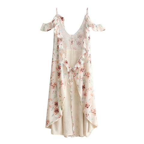 2017 Summer Lady Suspenders Floral Printed Dress Flouncing Side Split Women Sexy Dress Backless Beach Long Dress LM8002-0515