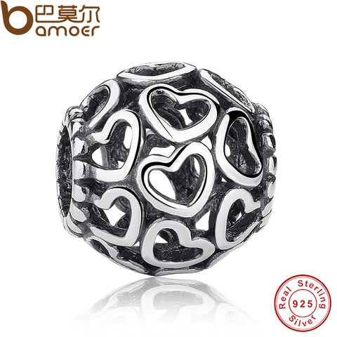Stunning 925 Sterling Silver Open Your Heart Charm Openwork Beads Fit Bracelet Bangle Jewelry Making PAS021