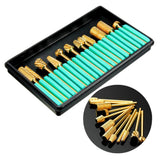 12Pcs Pro Cylinder Electric Gold Carbide art Nail Care Drill Bit Accessories Grinding Head Set Tool File Metal Round Style