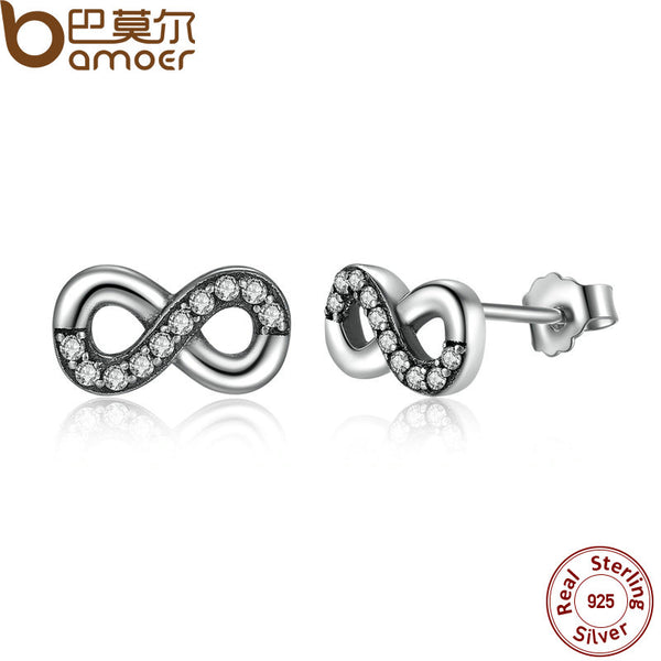 BAMOER High Quality 925 Sterling Silver Infinite Love, Clear CZ Knot Earrings for Women Fine Jewelry PAS475