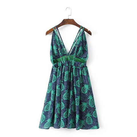 2017 Summer Fashion Lady Suspender Strap Backless Dress Green Women Sexy Deep-V Printed Beach Vacation Mini Dress AH8753-0520