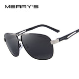 MERRY'S Men Classic Polarized Rectangle Sun glasses HD Polarized Aluminum Driving Sun glasses S'8758