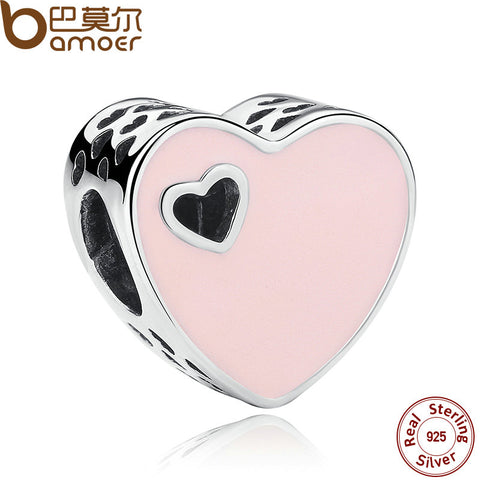 BAMOER 925 Sterling Silver HEART SILVER CHARM WITH PINK ENAMEL Charms Fit  Bracelets & Bangles Silver Jewelry PAS269