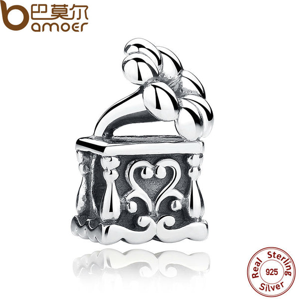 BAMOER 2017 Brand New Real 925 Sterling Silver Musical Phonograph Charms fit Bracelets amp Bangles Engagement Jewelry SCC001