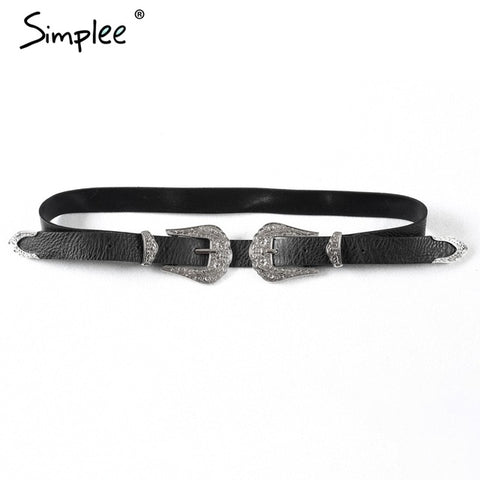 Simplee Fashion PU leather women belt Double buckle high quality brand waist belt 2016 Vintage black luxury belts cummerbunds