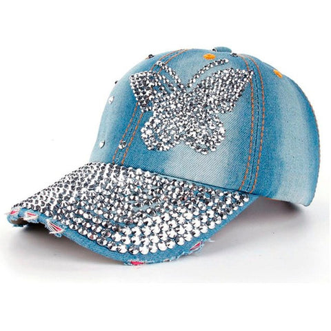 High Quality Women Men Butterfly Denim Rhinestone Baseball Cap Snapback Hip Hop Flat Hat casquette de marque