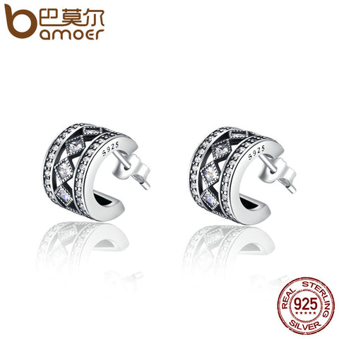 BAMOER 925 Sterling Silver Square Vintage Fascination, Clear CZ Stud Earrings for Women Brincos Fine Jewelry Bijoux SCE052