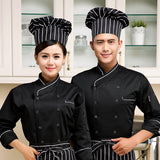 high quality 2017 long-sleeved Chef service Hotel working wear Restaurant work clothes Tooling uniform Black &white side Tops