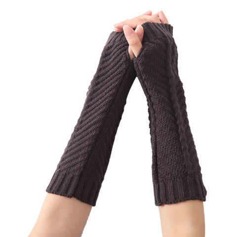 Brand New Women Fashion Knitted Arm Sleeve Fingerless Gloves Soft Warm Winter Gloves Women  Wrist Mittens