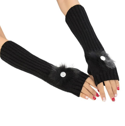 Fashion Women Fingerless Diamond Knitted Gloves Arm Warmer Winter Gloves Comfortable Mittens