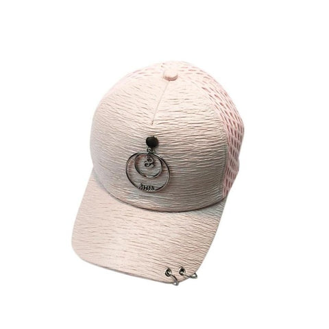 Women Men New Fashionable Hats Couple Cotton Metal Ring Baseball Cap Snapback Caps Hip Hop Hats