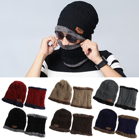 Men Women Camping Hat Beanie Baggy Warm Winter Wool Fleece Ski Cap with Neckerchief