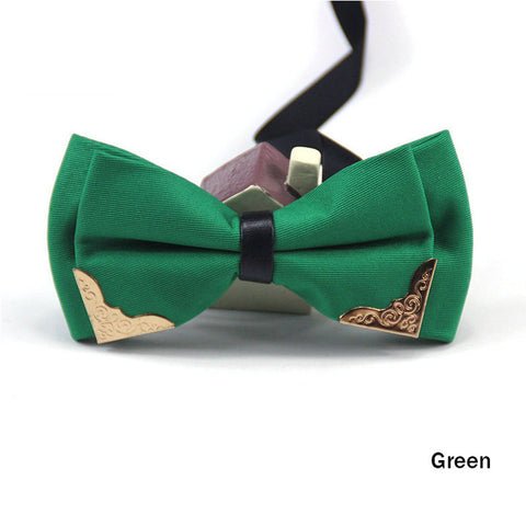 Fashion Metal Head Bow Ties Groom Men Women Bowknot Solid Bowtie Wedding Party Supplies H9