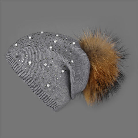 [Xthree]knitted women hat fur hats for lady beanies cap girl fur pom poms and wool knitted hat new thick female cap
