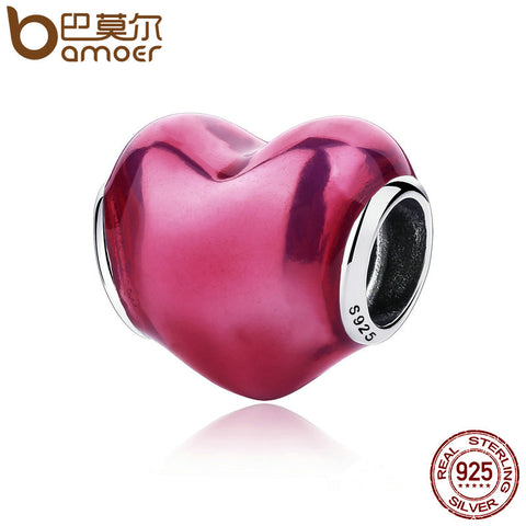 BAMOER Romantic 925 Sterling Silver In My Heart Violet Enamel Red Charms Fit  Bracelets & Bangles Silver Jewelry PAS270