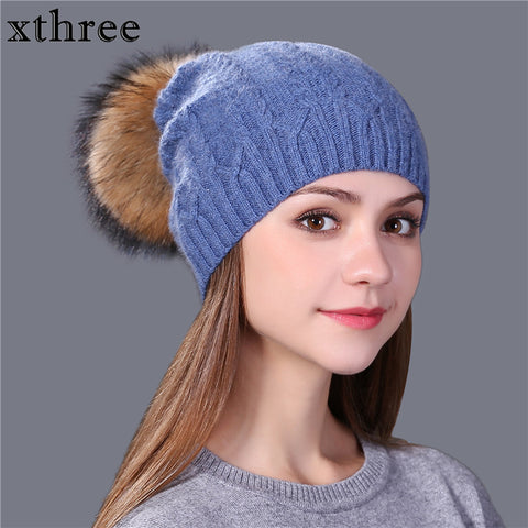 [Xthree] 2017 new winter knitted hat women warm wool beanie hat for girl real mink fur pom poms thick female wool cap brand